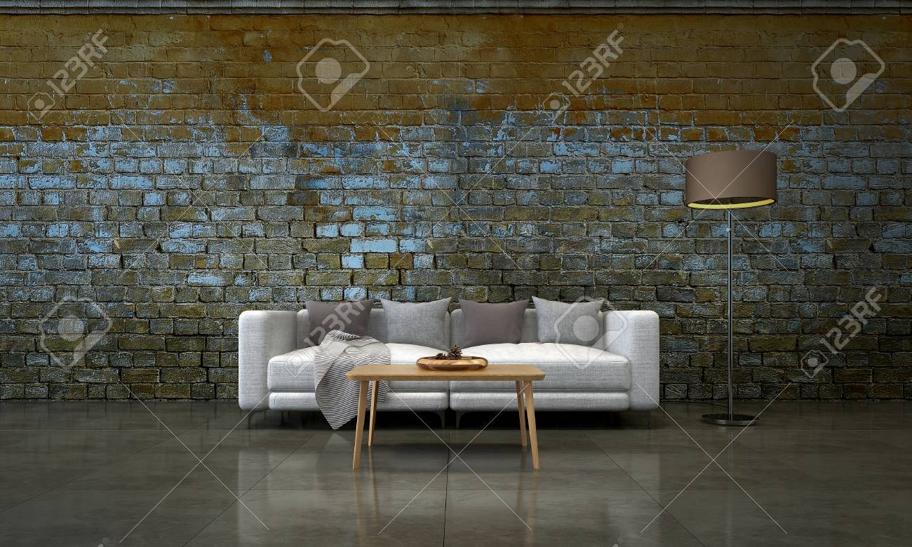 The Minimal Lounge And Living Room And Brick Wall Background Stock Photo Picture And Royalty Free Image Image 89480965