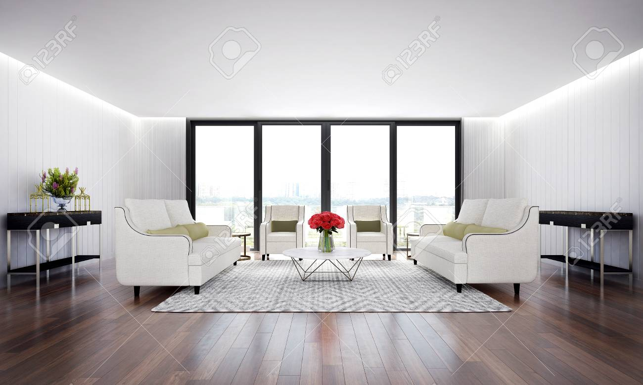 Luxury Lounge And Living Room And White Wood Wall Background Stock Photo Picture And Royalty Free Image Image 90008710