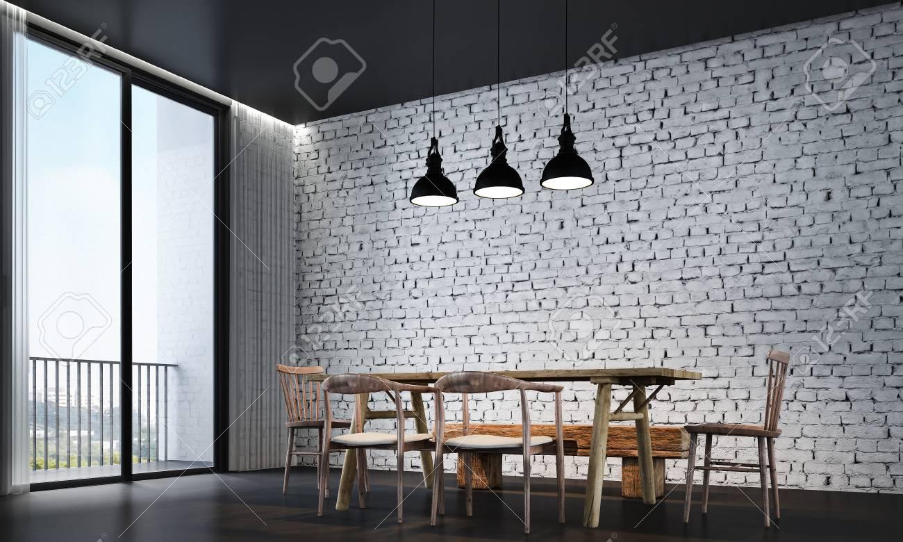 El Diseño Interior Del Comedor Y La Pared De Ladrillo Blanco Fotos ...