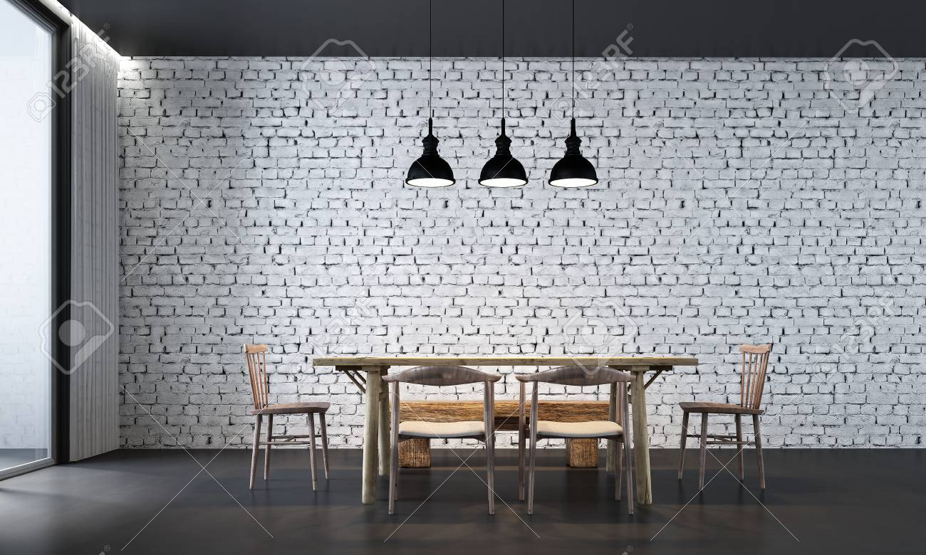 The Interior Design Of Dining Room And White Brick Wall Stock Photo Picture And Royalty Free Image Image 90332140