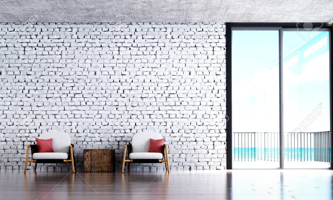 The Modern Lounge And Living Room And White Brick Wall Background ...