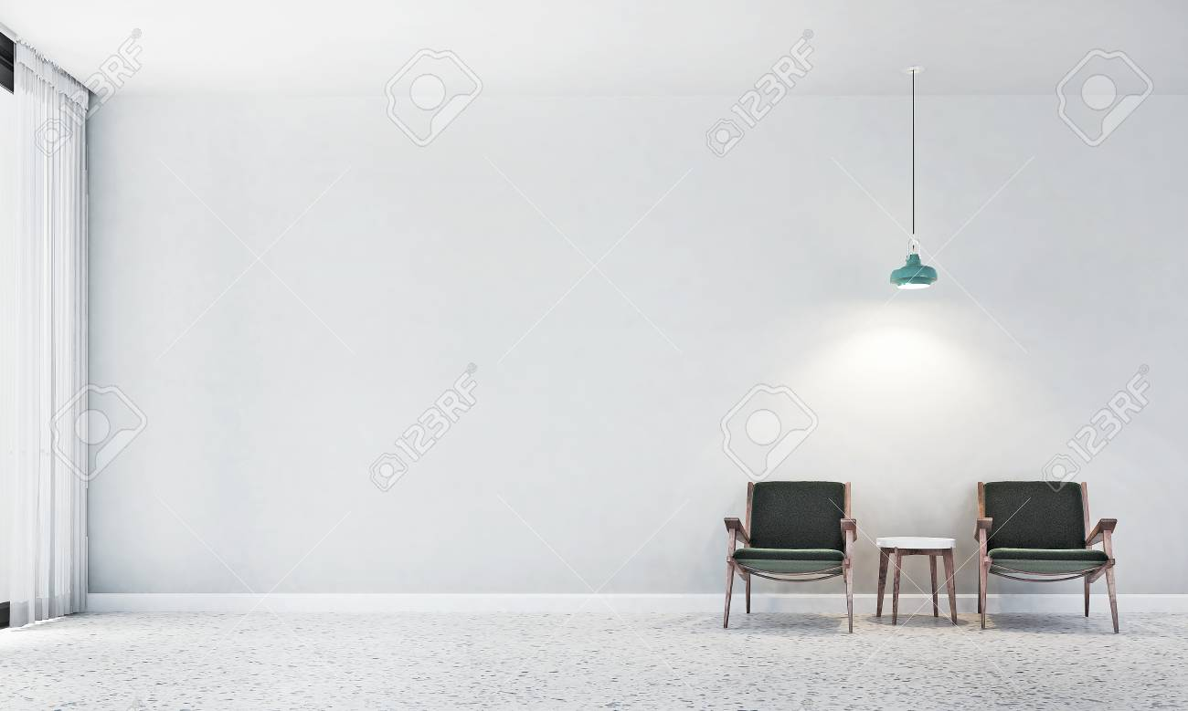 The interior design of lounge chair and living room and white..