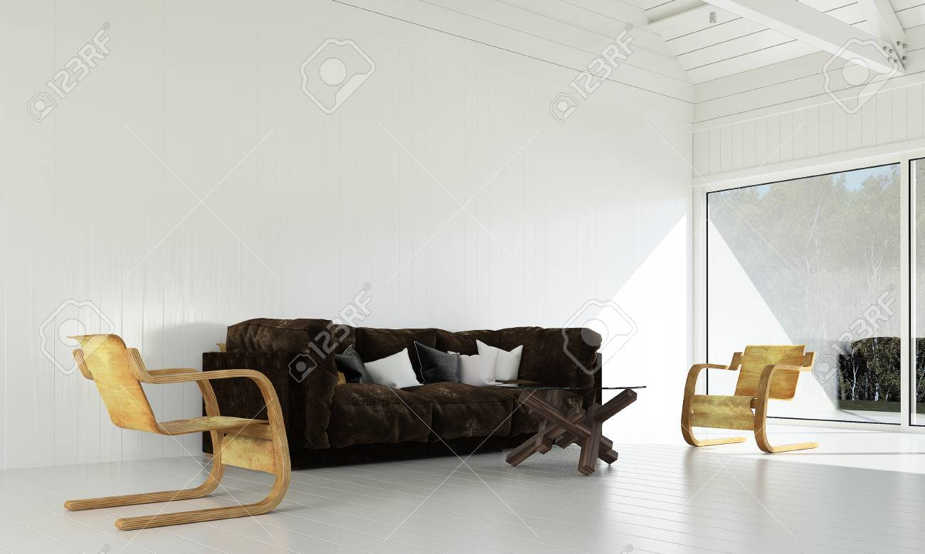 The Interior Design Idea Concept Of Living Room And White Wood ...