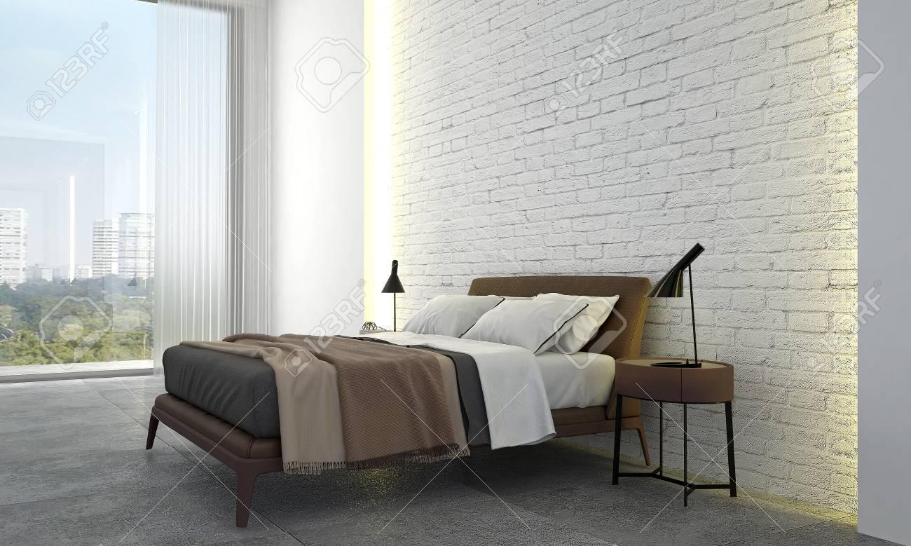 The Interior Design Idea Concept Of Modern Bedroom And White Stock