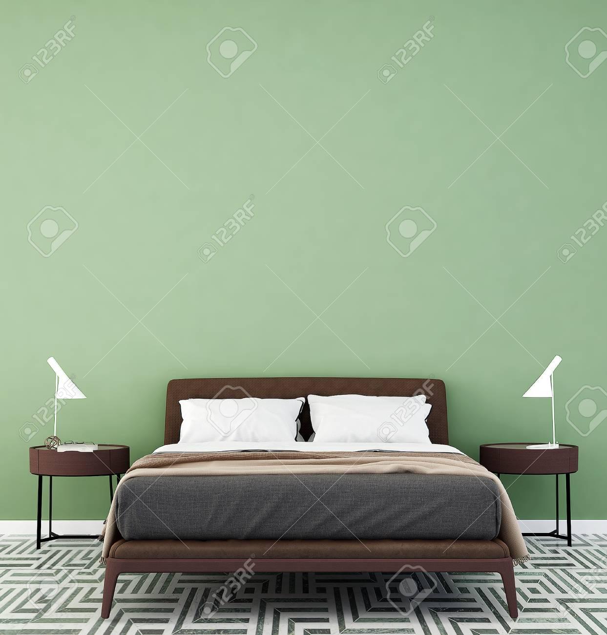 Le concept de l & # 39 ; intérieur idée de chambre moderne et minimaliste  mur vert patern fond