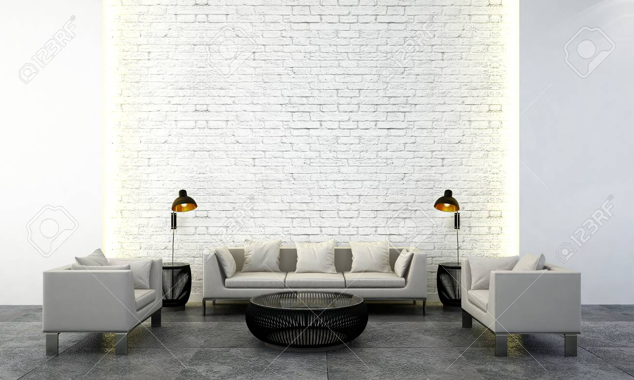 The Interior Design Idea Concept Of Modern Living Room And White ...