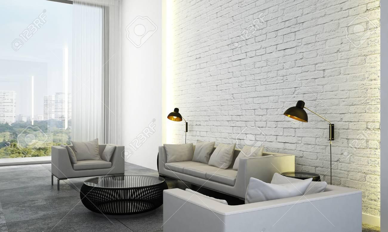 The Interior Design Idea Concept Of Modern Minimal Living Room ...
