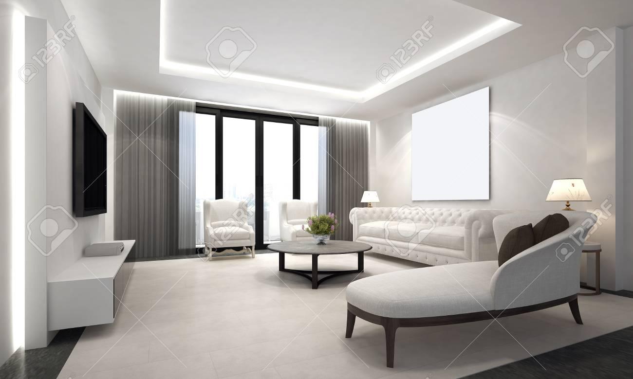 Der Luxus Wohnzimmer Innenarchitektur Und Weißen Wand Hintergrund Wand Und  LCD TV Standard
