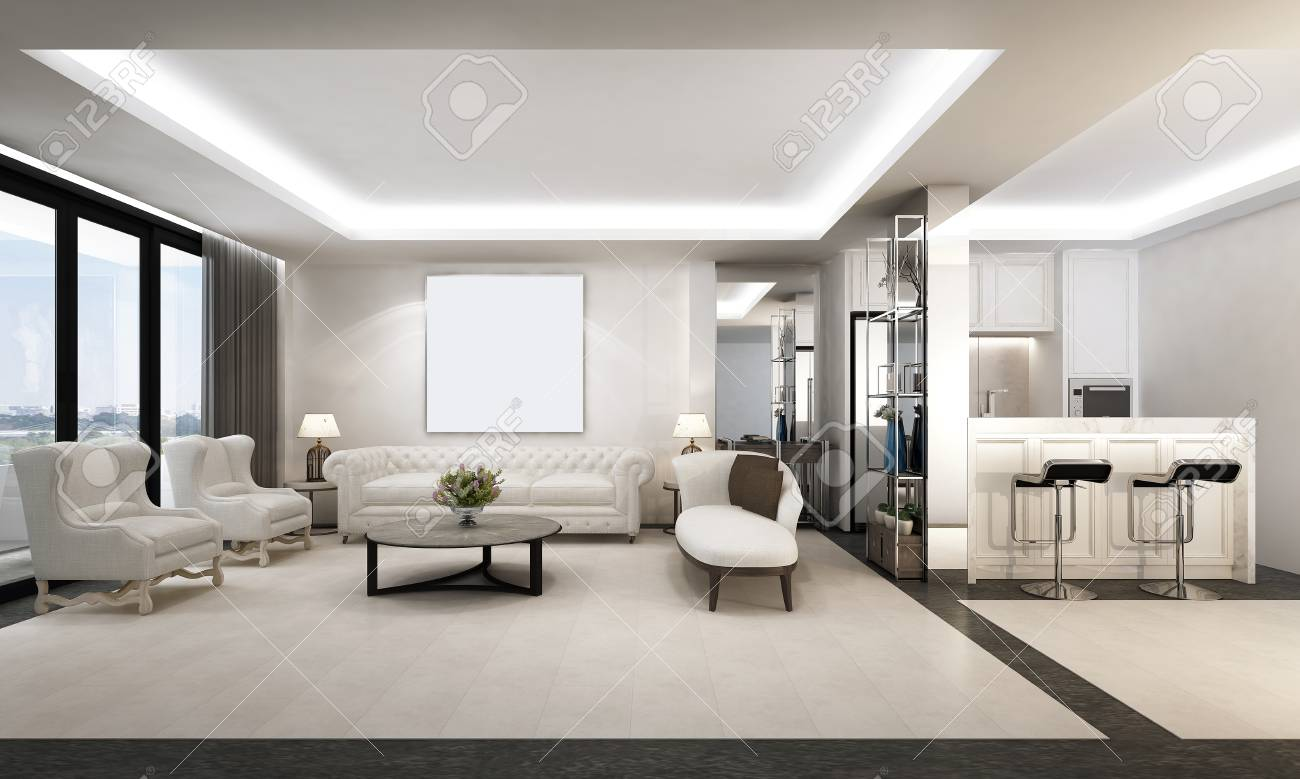 The Luxury Living Room Interior Design And White Pattern Wall ...