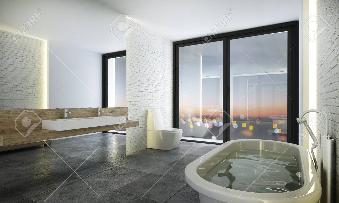 Stock Photo   The Loft Bathroom And Jacuzzi Interiors Design Idea Concept  And White Texture Wall Background