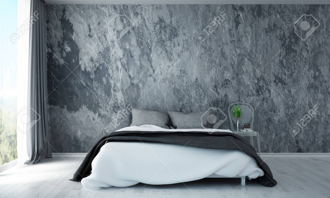 the inteiror design of modern bedroom and concrete wall background..