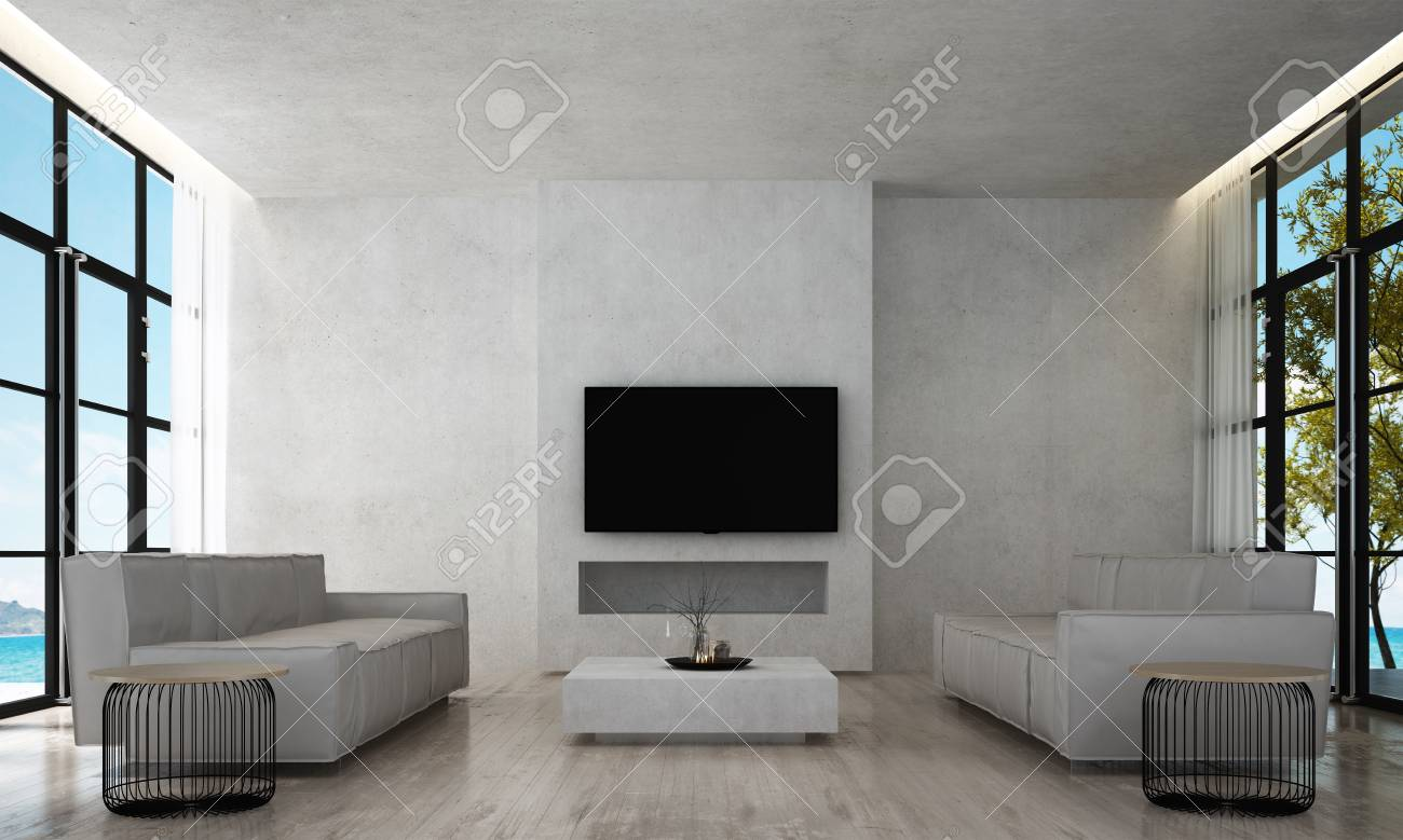 Modern luxury living room interior design and concrete texture..