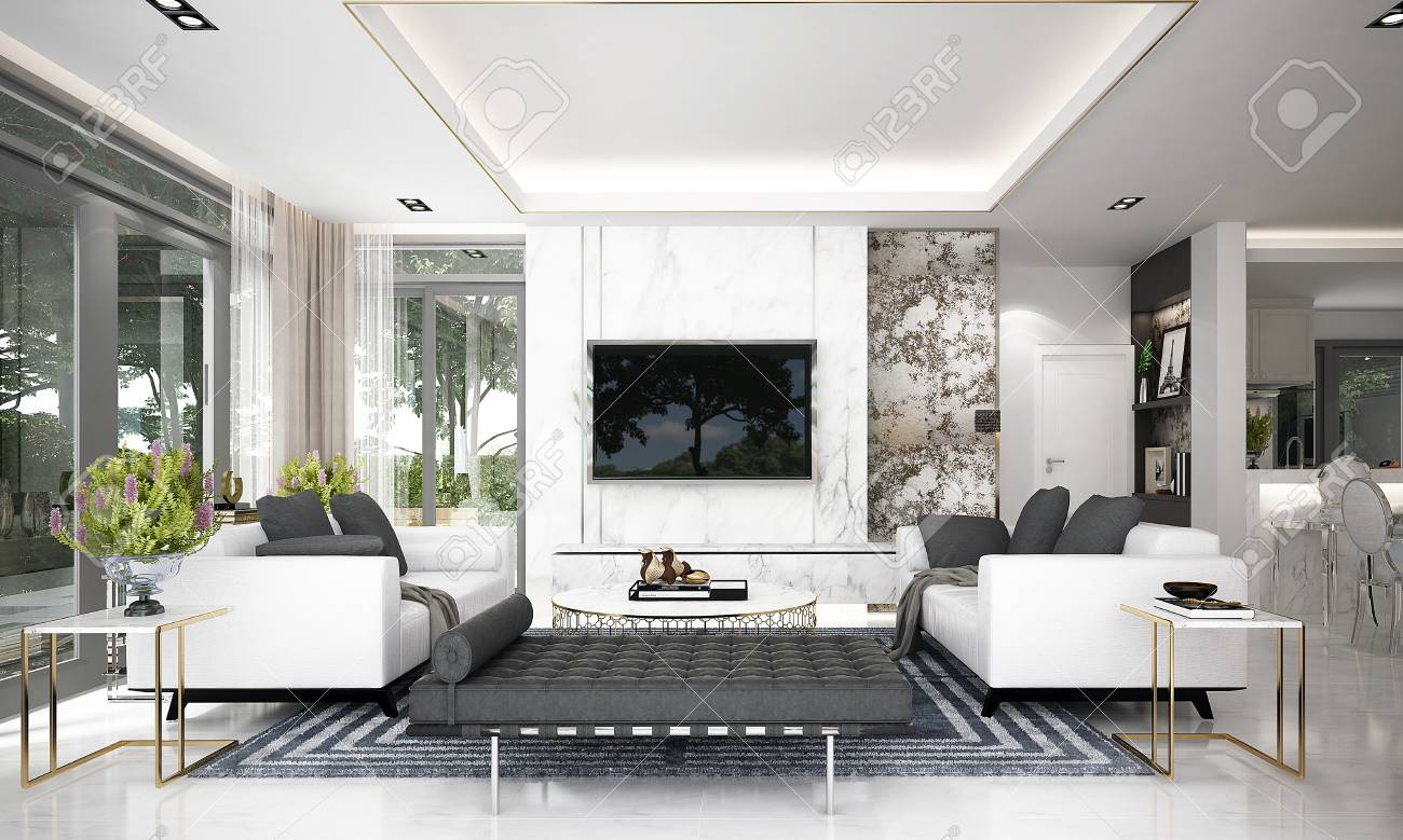 3d Rendering Interior Design Of Luxury Living Room And Marble Stock Photo Picture And Royalty Free Image Image 122258409