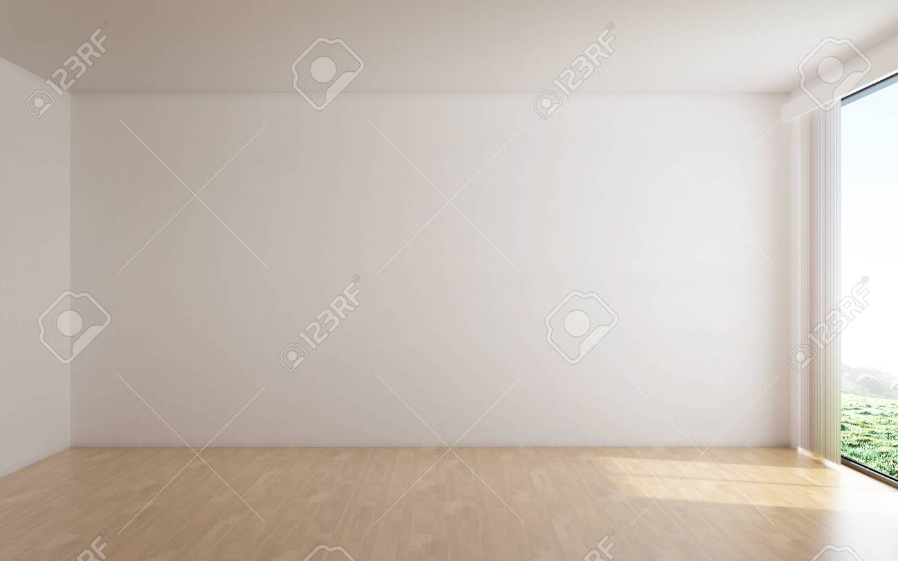 The interior design of empty room and white wall background - 131987761