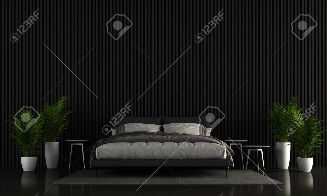 The Interior Design Of Modern Bedroom And Black Texture Wall Stock Photo Picture And Royalty Free Image Image 138782678