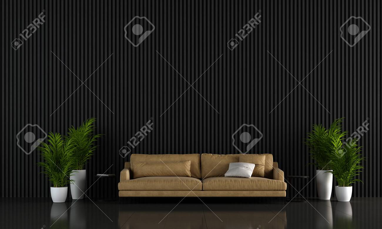 Modern Living Room Interior Design And Black Wooden Wall Background Stock Photo Picture And Royalty Free Image Image 138782707