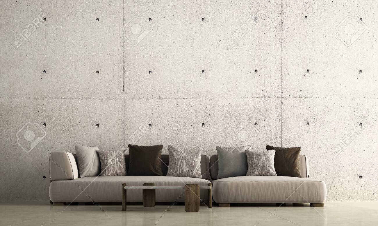 Minimal Living Room Interior Design And Concrete Wall Background Stock Photo Picture And Royalty Free Image Image 138782731
