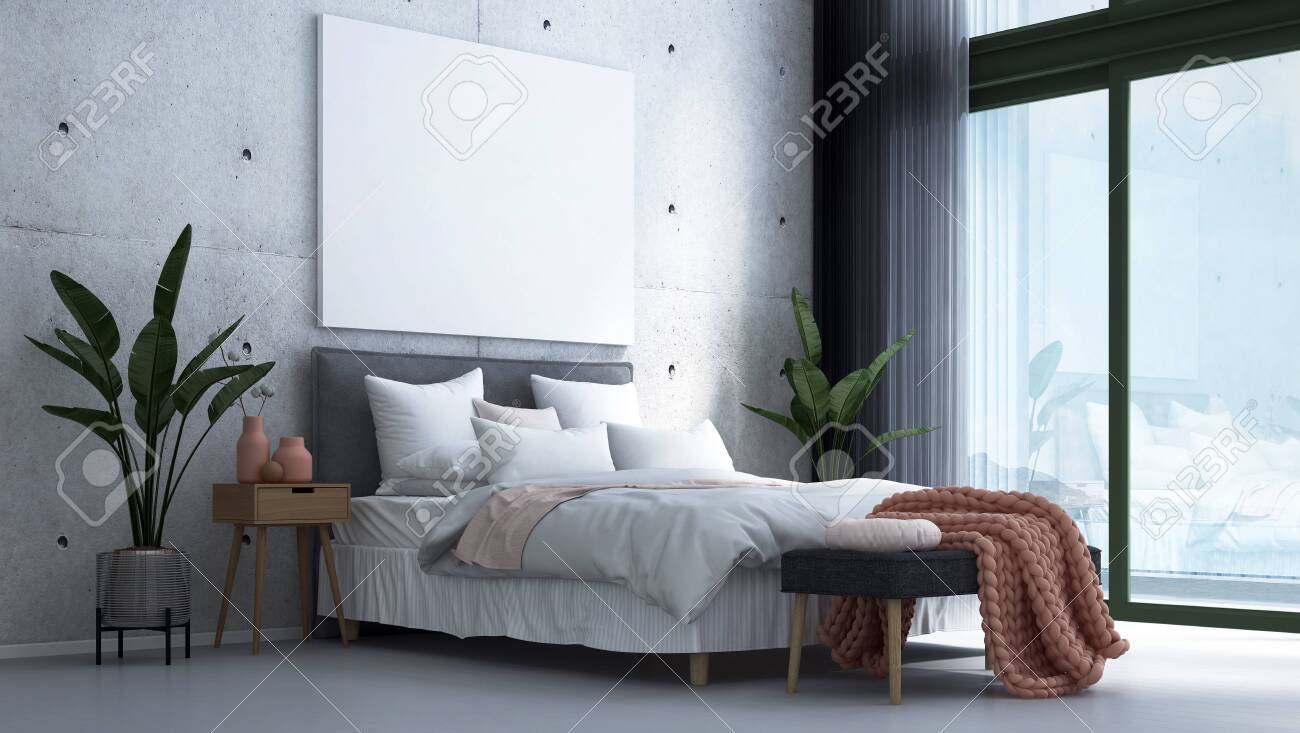 Modern Scandinavian Bedroom Interior Design And Concrete Wall Stock Photo Picture And Royalty Free Image Image 149189113