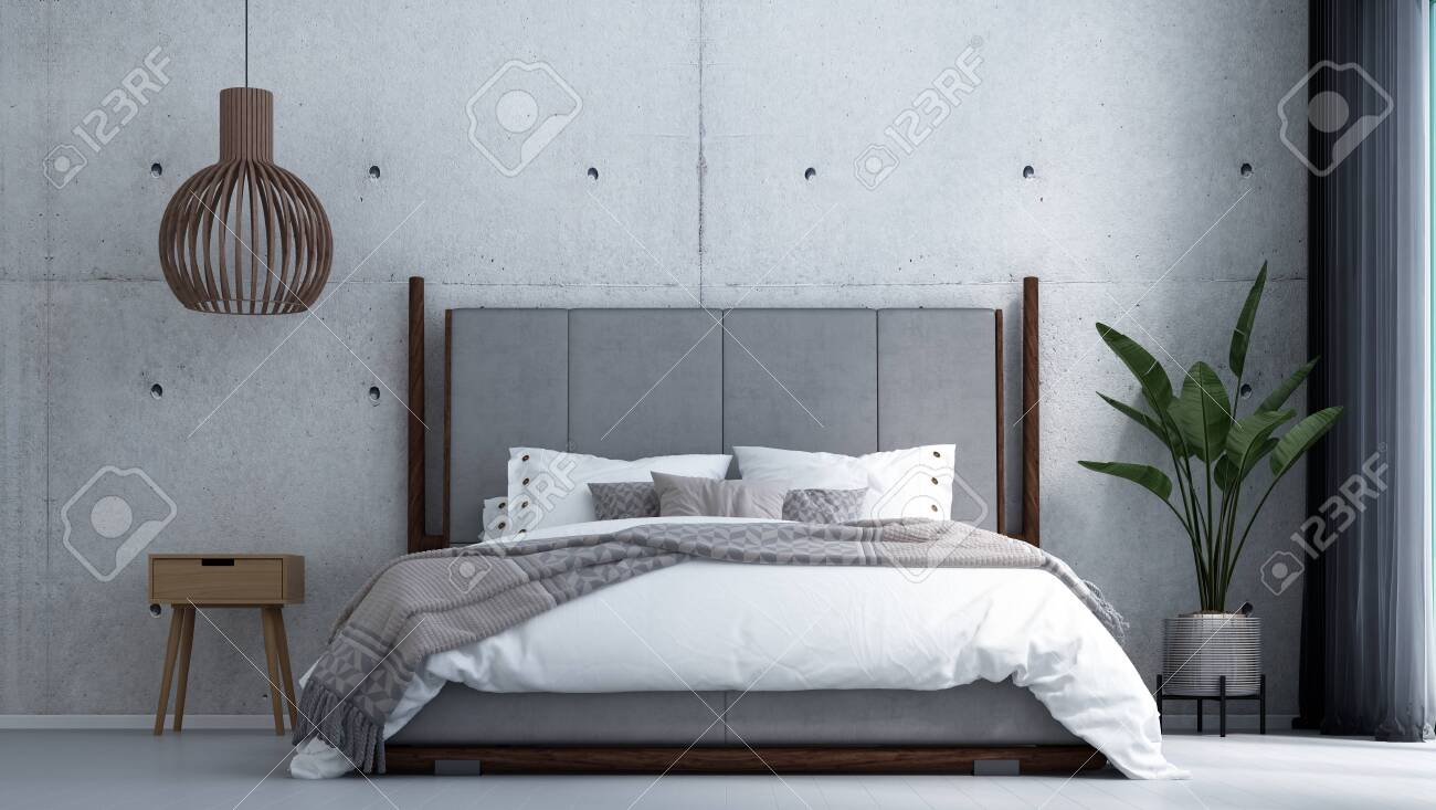 Modern Tropical Bedroom Interior Design And Concrete Wall Background Stock Photo Picture And Royalty Free Image Image 149469122