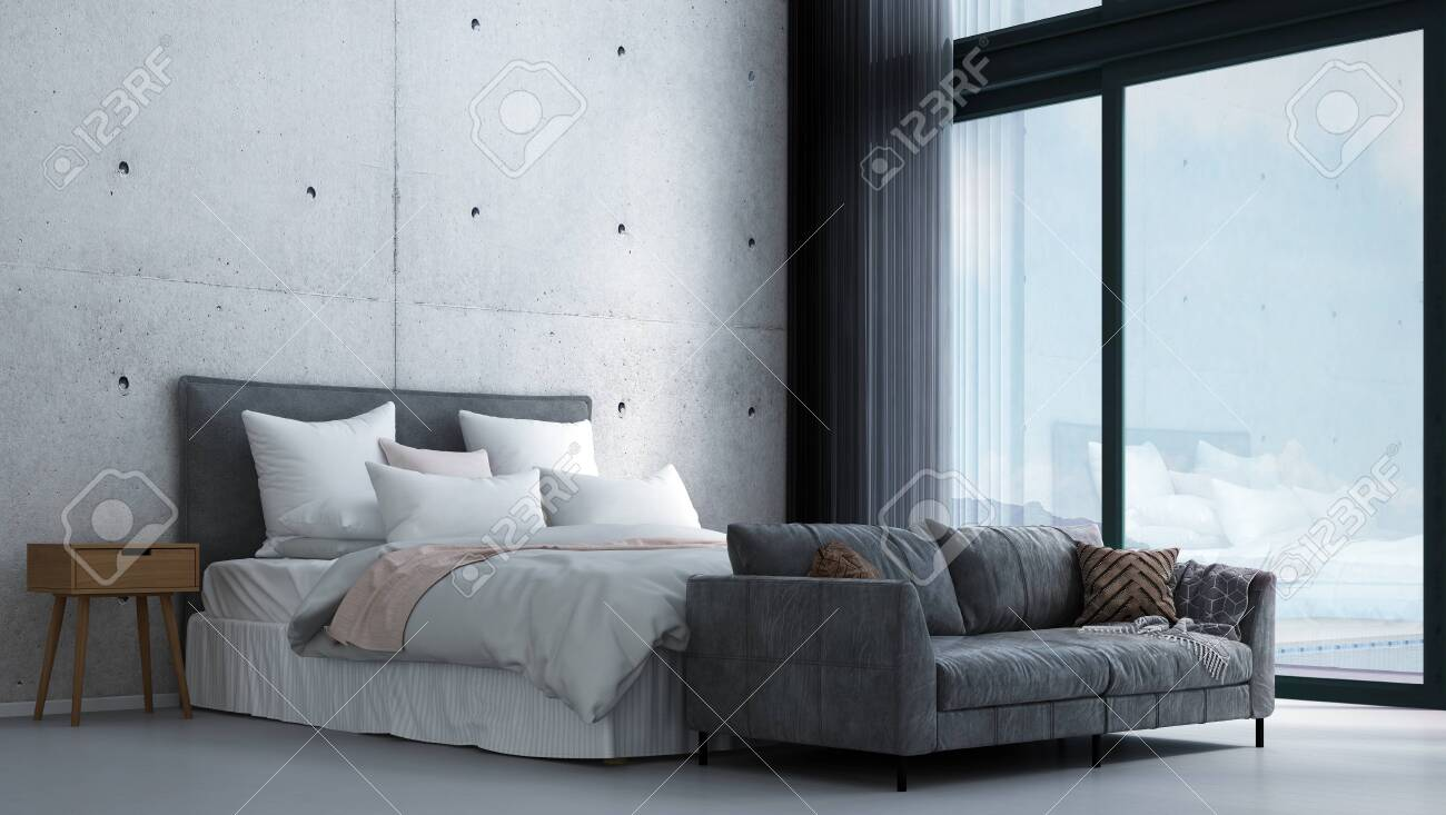 Modern Tropical Bedroom Interior Design And Concrete Wall Background Stock Photo Picture And Royalty Free Image Image 149469028