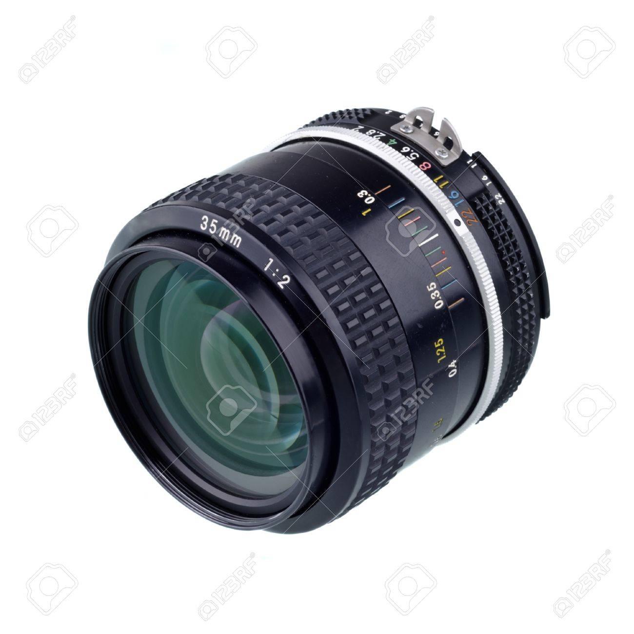 35 mm camera lense isolated on white Stock Photo - 9137999
