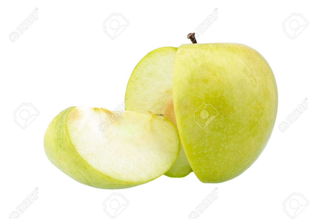 Green apple and a slice isolated over a white background Stock Photo - 9138001