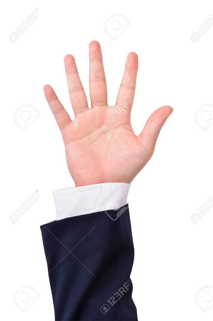 Business man's hand sign isolated on white Stock Photo - 9561346