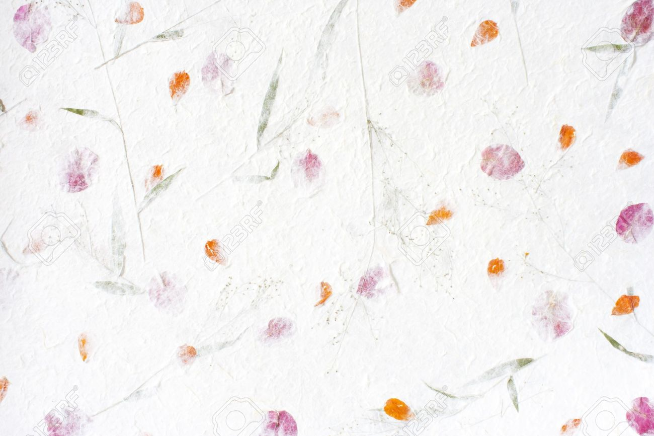 Mulberry Paper With Red Flower Texture Background Stock Photo
