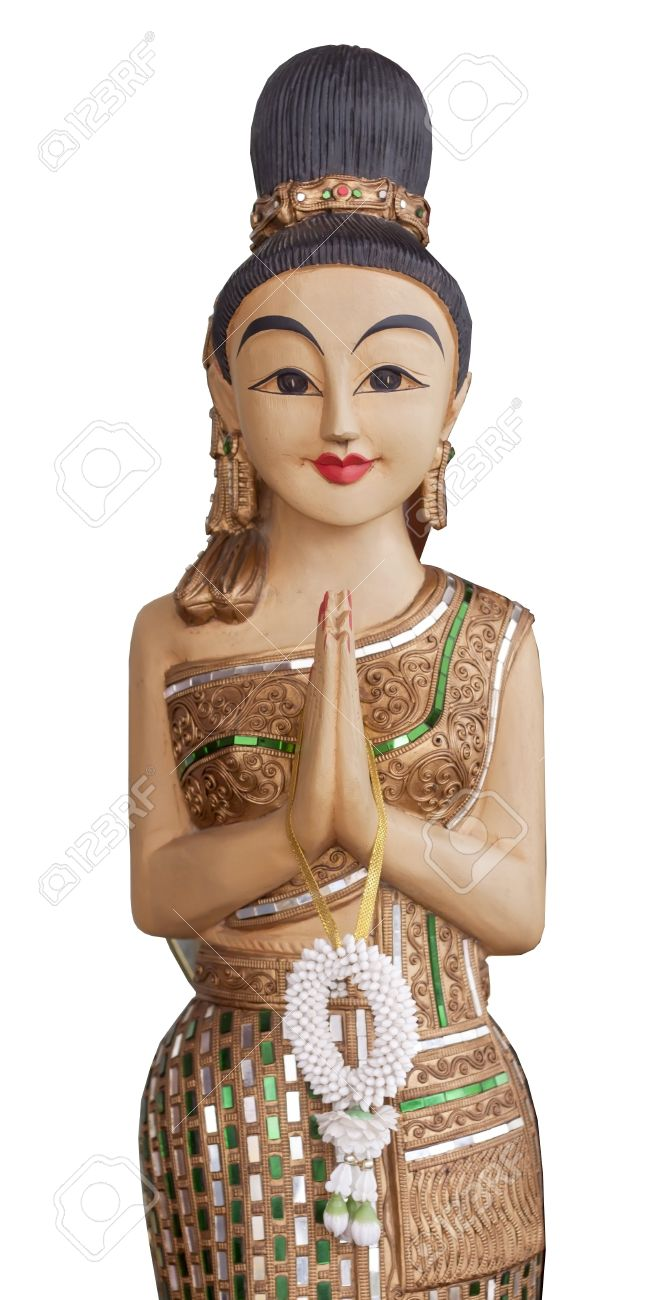 Sawatdee lady wooden statue of a traditional thai greeting sawatdee lady wooden statue of a traditional thai greeting lady isolated stock photo 16164016 kristyandbryce Images