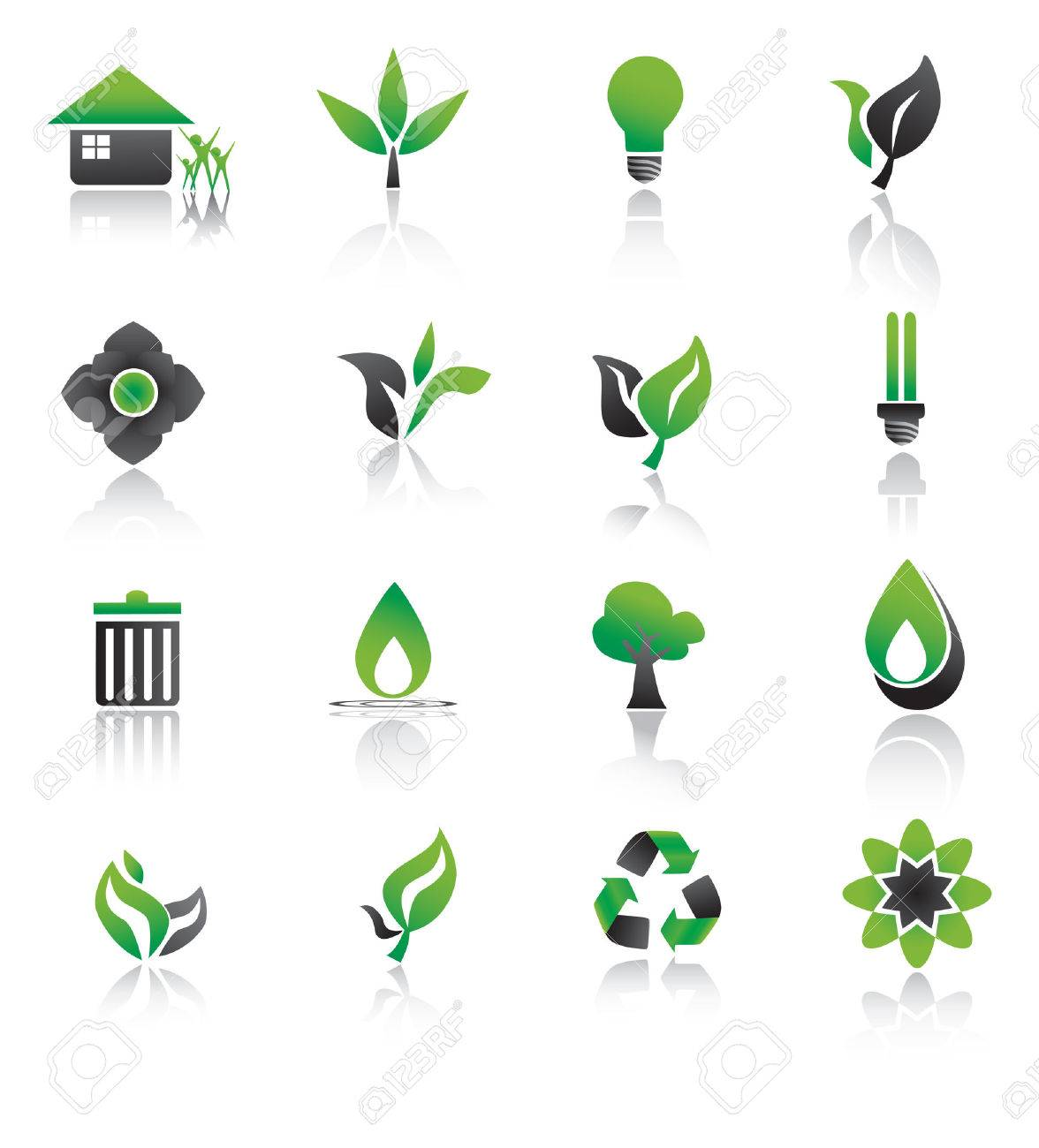 Set of environmental green icons. Stock Vector - 22847023