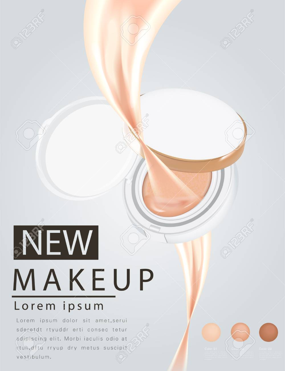 Compact foundation ads, attractive makeup essential product with texture isolated on glitter background, 3d illustration - 109626421