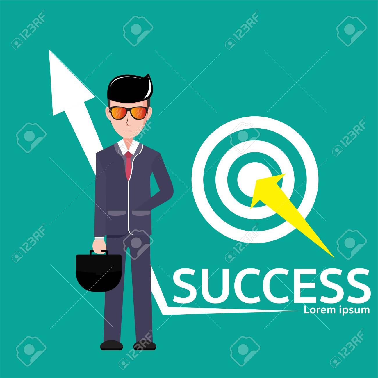 businessmen of columns column Business ideas about goals, accomplishments, achievements, and challenges. Vector Illustration - 109626488