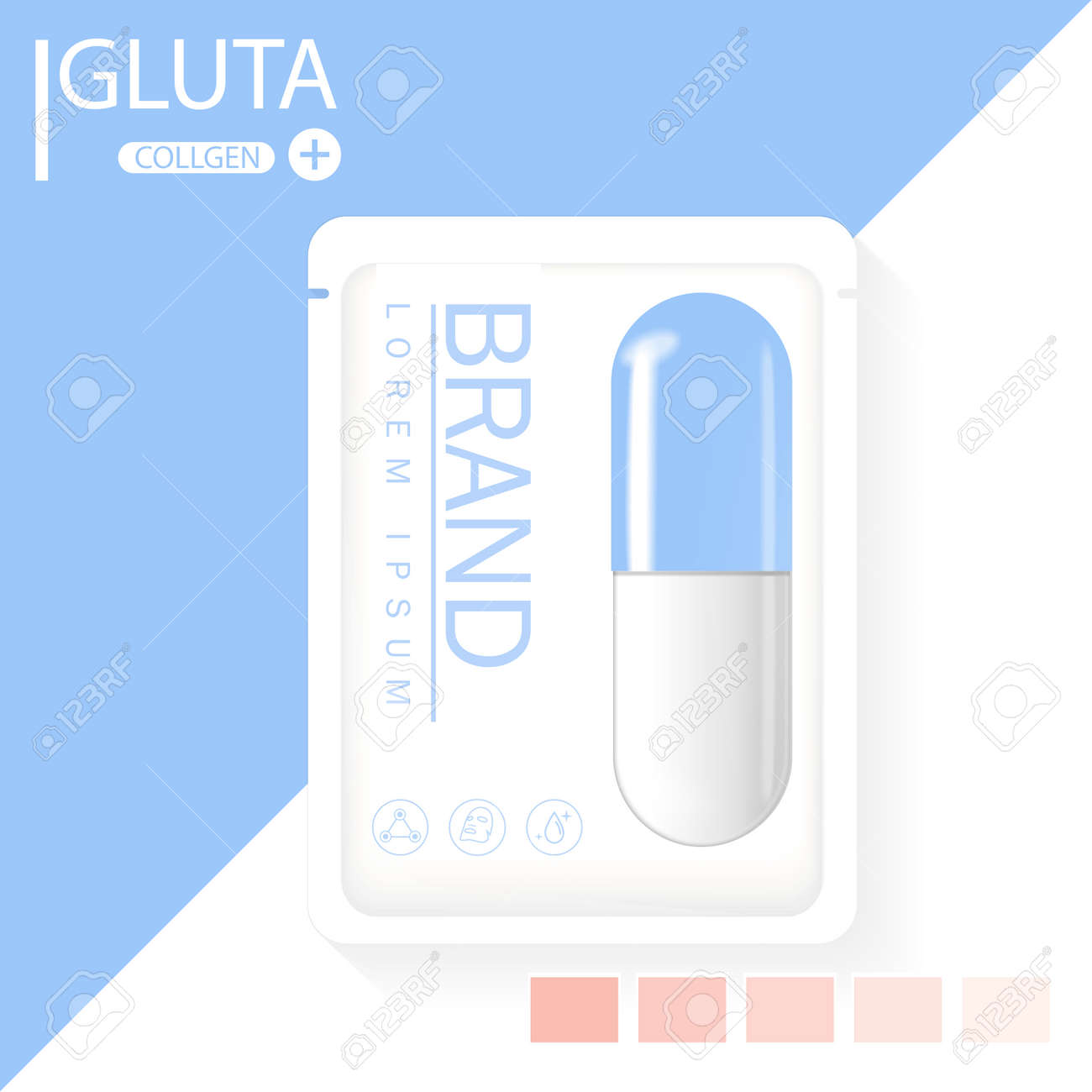 glutathione pack with capsule and the third ingredient can be separated. - 125660844