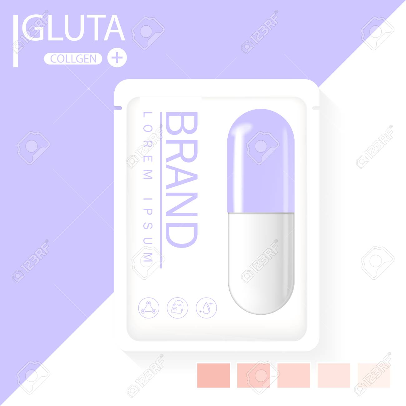 glutathione pack with capsule and the third ingredient can be separated. - 125660845