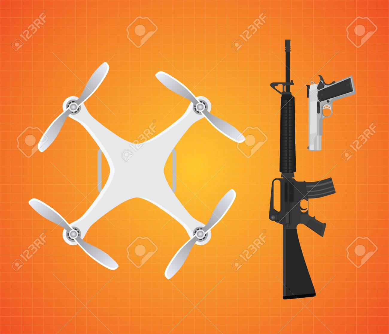 Drone With Gun Firearms Mounted With M16 And Pistol Vector Illustration Royalty Free Cliparts Vectors And Stock Illustration Image 54208504