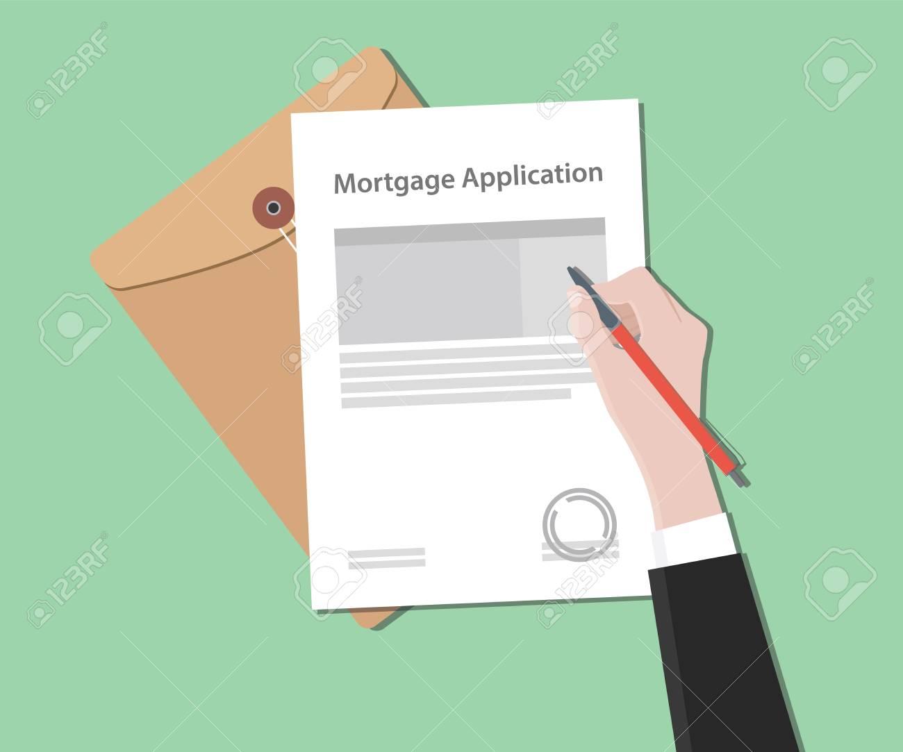 Illustration De Lettre De Demande De Pret Hypothecaire Avec Document Estampille Et Vecteur De Document De Dossier
