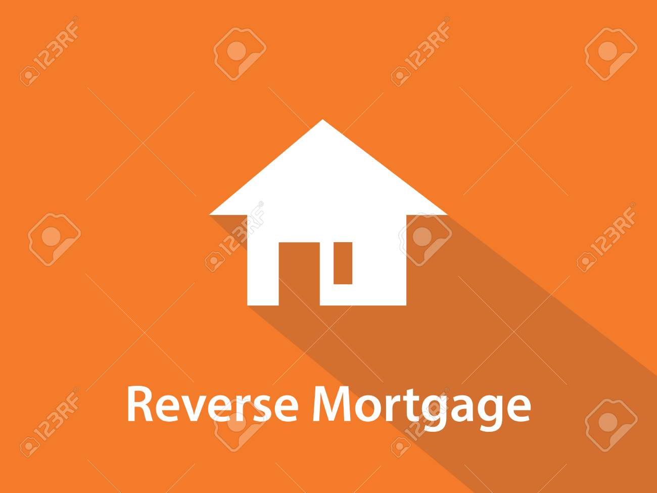 reverse mortgage white text illustration with white house silhouette