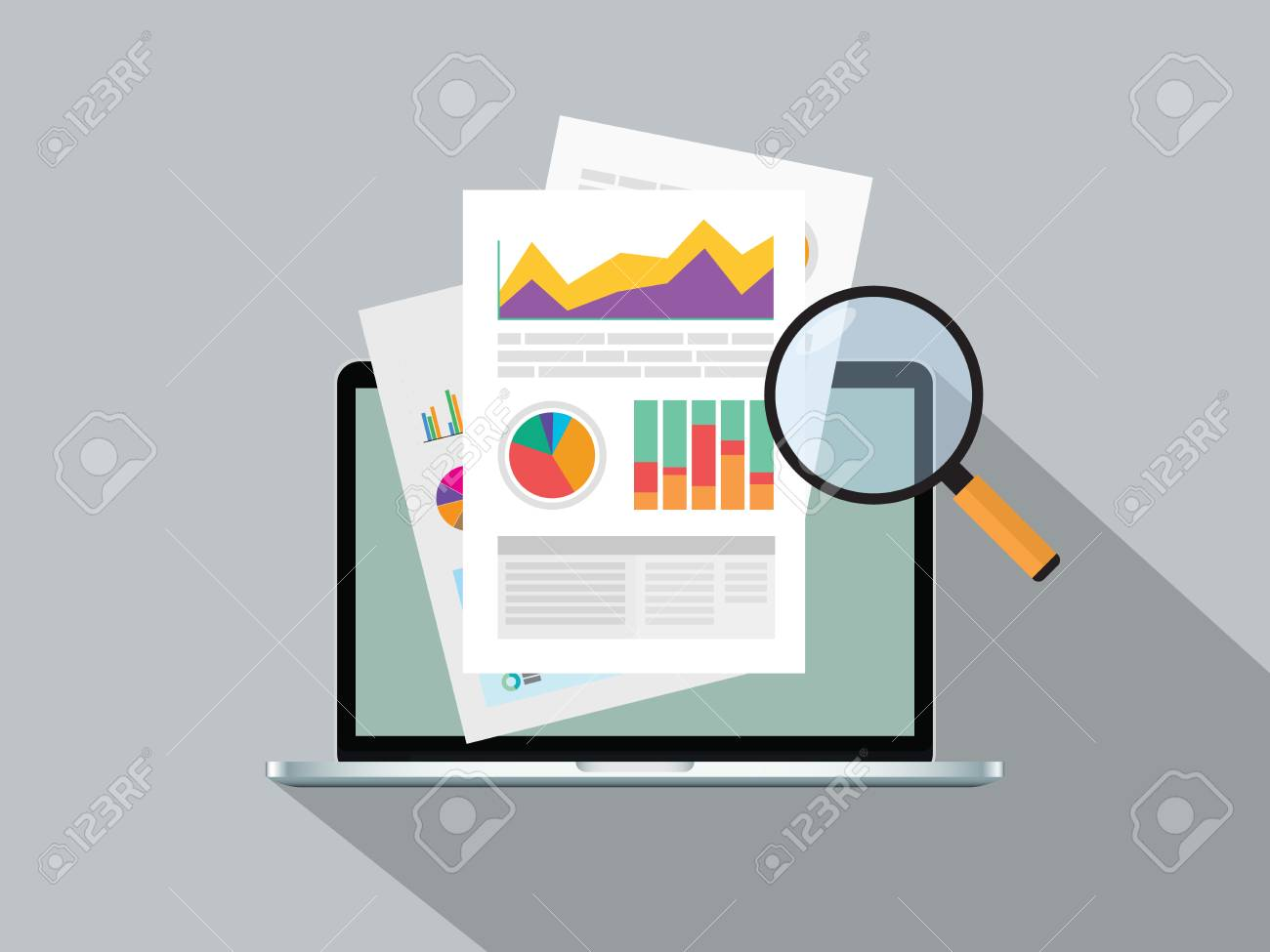 business report paper with graph online on top of notebook vector graphic illustration - 114992964