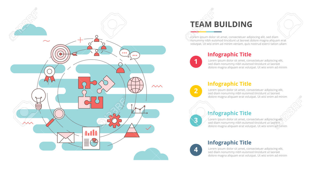team buiilding concept for infographic template banner with four point list information vector illustration - 165180193