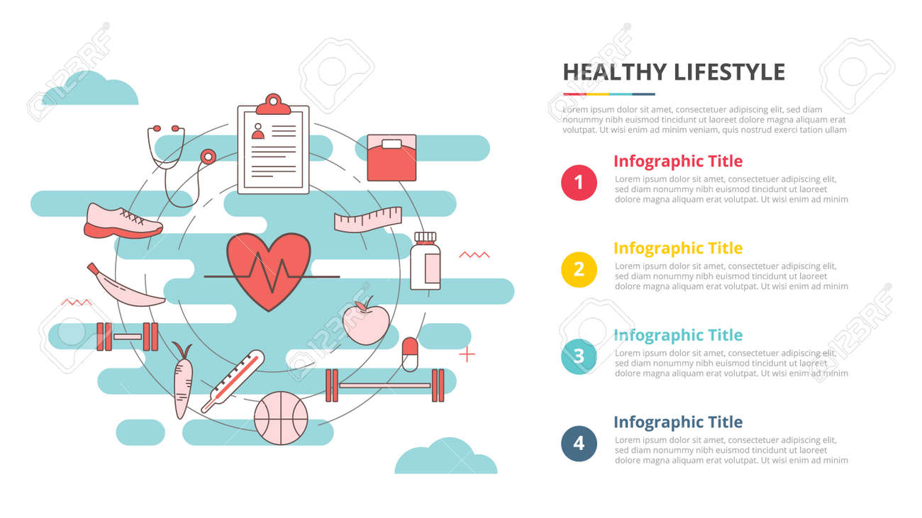 healthy lifestyle concept for infographic template banner with four point list information vector illustration - 165180209