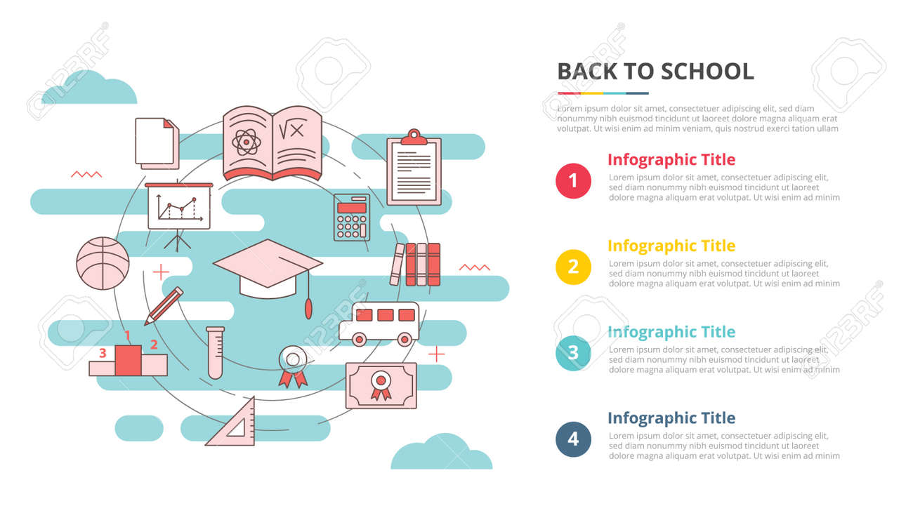 back to school concept for infographic template banner with four point list information vector illustration - 165223751