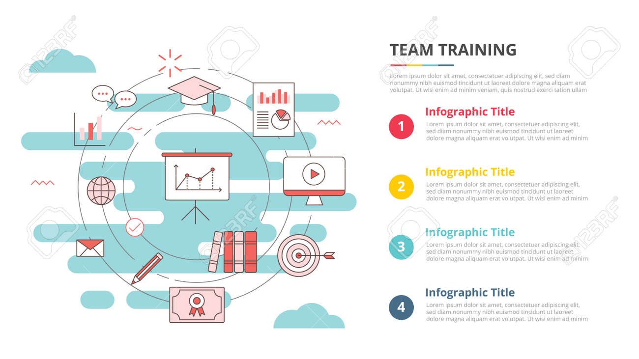 business team training concept for infographic template banner with four point list information vector illustration - 165180128