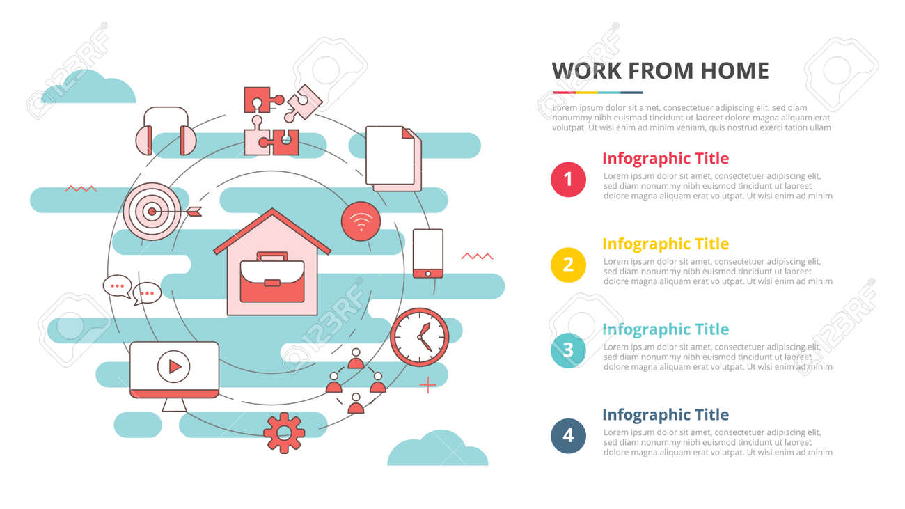 wfh work from home concept for infographic template banner with four point list information vector illustration - 165180587