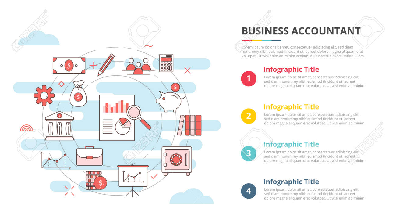 business accountant concept for infographic template banner with four point list information vector illustration - 165180462