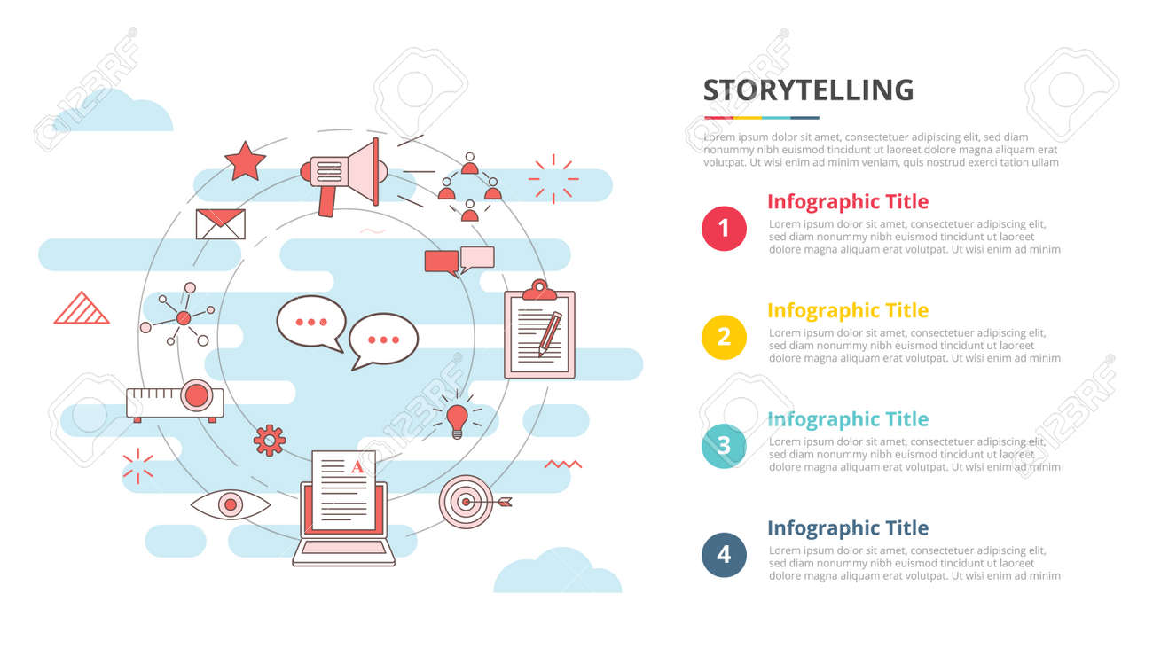 storytelling concept for infographic template banner with four point list information vector illustration - 165180147