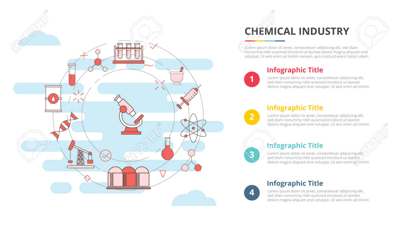 chemical industry concept for infographic template banner with four point list information vector illustration - 165223757