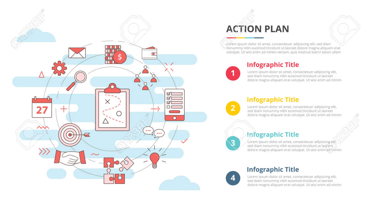 business action plan concept for infographic template banner with four point list information vector illustration - 165180302