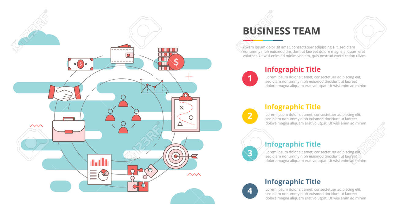 business team concept for infographic template banner with four point list information vector illustration - 165223763