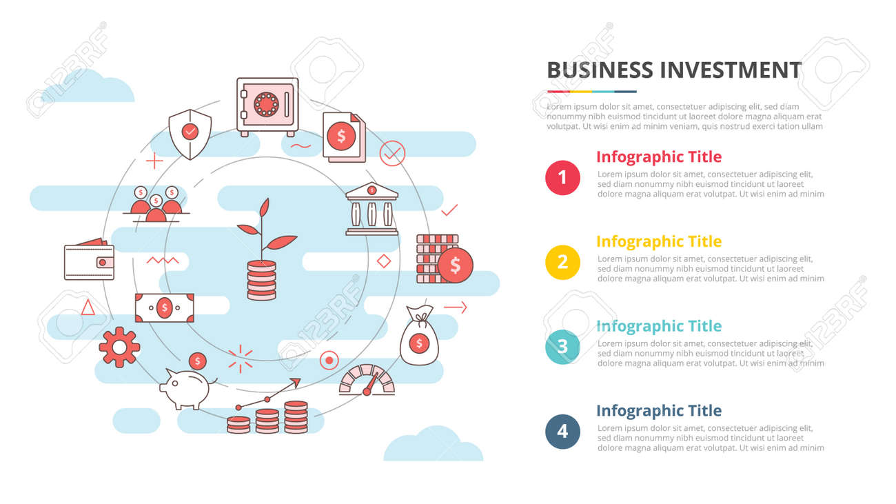 business investment concept for infographic template banner with four point list information vector illustration - 165182057