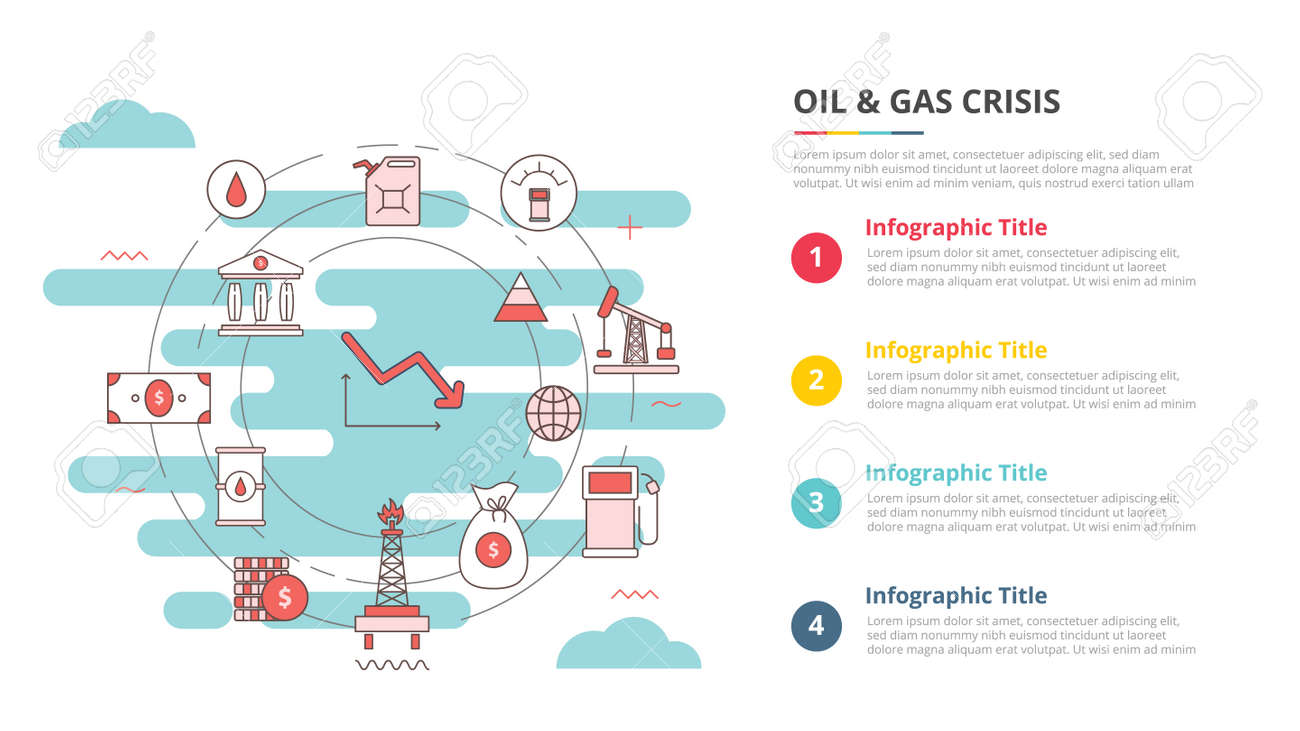 oil and gas industry crisis concept for infographic template banner with four point list information vector illustration - 165180269